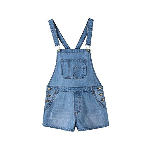 Shortall Blue - Duo Bao Yu Women's Classic Ripped Distressed Blue Denim Shortalls Jeans Overalls Shorts (M, Blue)