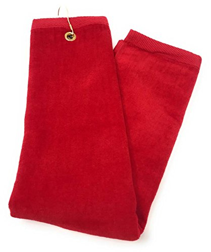 RED Cotton Golf Towel High Quality Tri-Fold with Grommet & Hook for Golf Bag