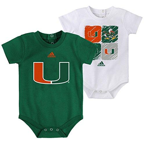 Outerstuff NCAA Miami Hurricanes Children Boys Double Up 2Piece Onesie Set, 24 Months, Dark Green