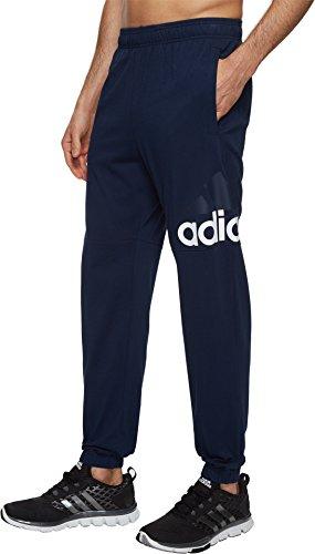 adidas Men's Essentials Performance Logo Pants, Collegiate Navy/White, Medium - Navy Logo Sweatpants