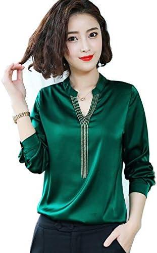 Long-sleeved satin shirt female autumn Hong Kong flavor temperament loose silk blouse wild Western style chiffon shirt v-neck tassel brand:QWERTY (Color : Black2, Size : M)