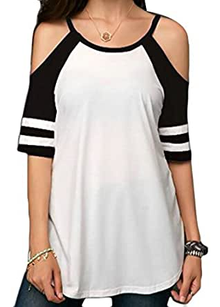 4727745ca9d71f GRMO Women Casual Cold Shoulder Contrast T Shirt Short Sleeve Loose Tops  Blouse Black US XS