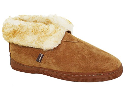 Ladies Suede Foldover Cuff Cozy Toes Slippers Tan NOCrLi