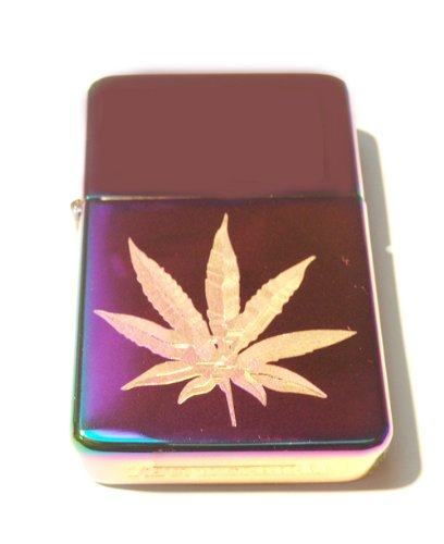 Vector-KGM-Thunderbird-Custom-Lighter-Marijuana-Pot-Weed-Ganja-Leaf-Logo-High-Polish-Rainbow-Color-Prism-Rare