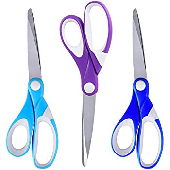 Scissors Set,ESEOE 3 Piece of Stainless Steel Scissors with Precision Cutting Blades for Household/Office -Ultra Edge Scissors (8 Inch)