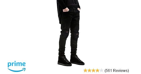 036b9401bb82a Qazel Vorrlon Men s Slim Fit Black Stretch Destroyed Ripped Skinny Denim  Jeans at Amazon Men s Clothing store