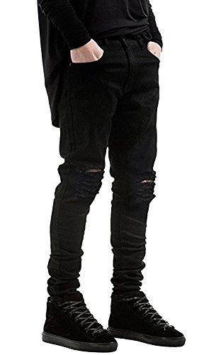 Qazel Vorrlon Men's Slim Fit Black Stretch Destroyed Ripped Skinny Denim Jeans W28,Black-1