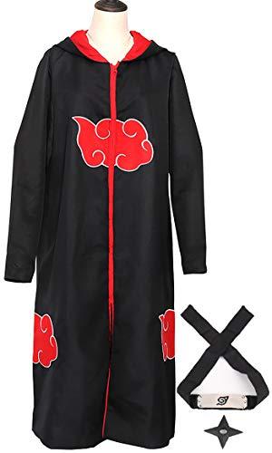 Yanhusu Akatsuki Cosplay Uchiha Hooded Robe Cloak Headband