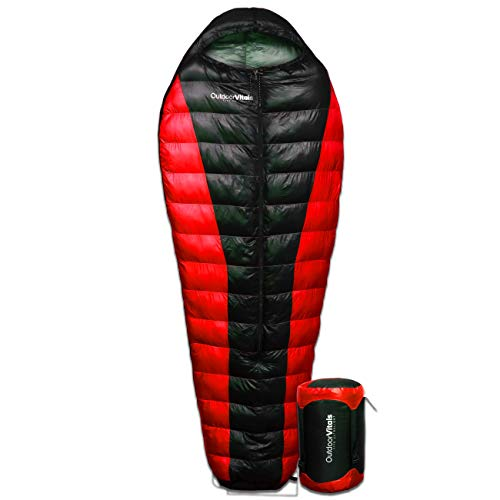 Outdoor Vitals Atlas 15-30 Degree Lightweight Down Sleeping Bag with Compression Sack (Red (Center Zip), Regular (30°F))