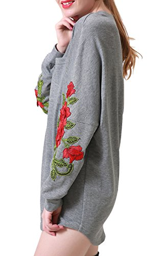 Crewneck Casual Sleeve Women's Floral Grey Zevrez Dress Long Tunic Pullover Grey Sweatshirt 4RHx6cqcwf