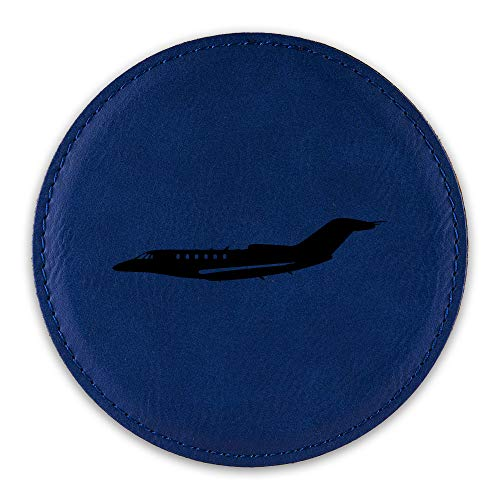 (Cessna Citation X Jet Drink Coaster Leatherette Round Coasters business - Blue - Set of Six Round Coasters)