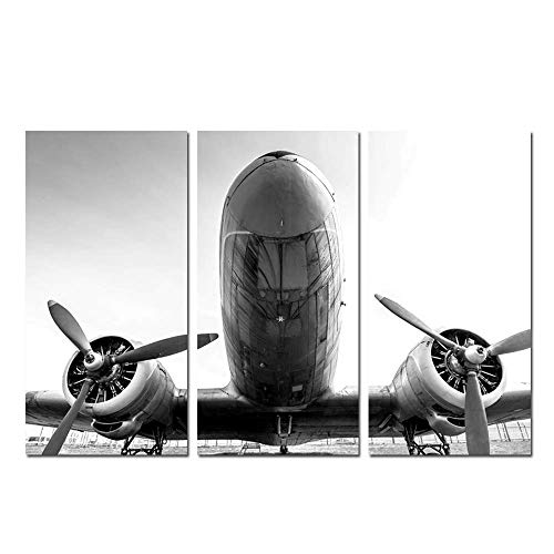 Kreative Arts Black and White Wall Art Large 3 Pieces Turbine Fighter Aircraft Poster Framed Airplane Pictures Printed on Canvas Modern Home Decor Framed for Office Ready to Hang 16x32inchx3pcs