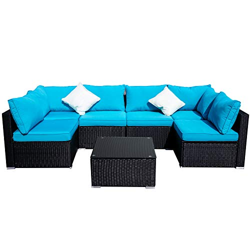 Outdoor Basic Patio Furniture 7-Pieces PE Rattan Wicker Sectional Blue Cushioned Sofa Sets with 2 Pillows (Garden Assembled Fully Furniture)