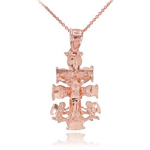 Collier Femme Pendentif 10 Ct Or Rose Caravaca Crucifix Croix Charme (Livré avec une 45cm Chaîne)