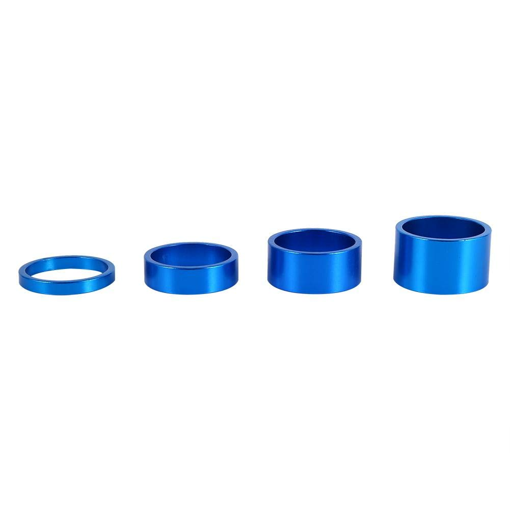 Dilwe Bicycle Fork Washer, 4 Colors 4Pcs/Set 5mm/10mm/15mm/20mm Aluminum Alloy Bike Front Stem Headset Spacer(Blue) by Dilwe