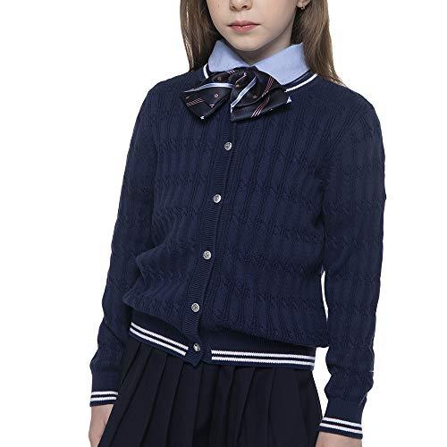 - BOBOYOYO Girl's School Uniform Cardigan Sweater Long Sleeve Crew Neckline Cotton Cable Knit Sweater with Stripes 6-14Y Navy