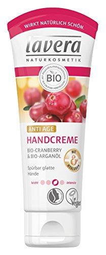 lavera Handcreme Anti Age mit Bio Cranberry & Bio Arganöl - Handpflege mit Hyaluron für spürbar glatte Hände, vegan Naturkosmetik, 2er Pack (2 x 75ml)