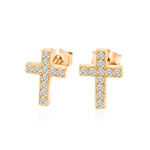 14k Rose Gold Plated 925 Sterling Silver Cubic Zirconia Classic Mini Cross Stud Earrings Cross 925 Sterling Silver Stud