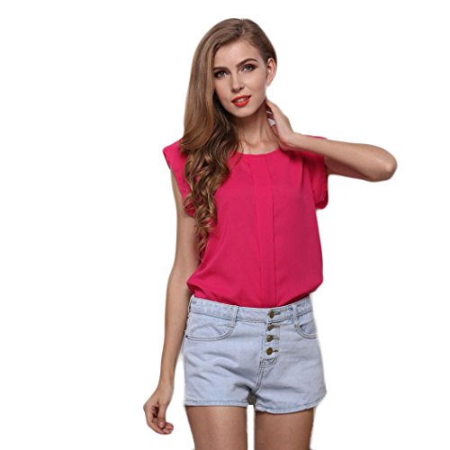 men Chiffon Tank Tops - O-Neck Sleeveless Pure Color Vest T-Shirt Blouse(L, Pink) (Mesh Ruffled Bustier)