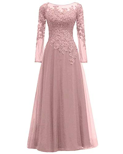 - Women's Lace Appliques Mother of The Bride Dress Tulle Long Sleeves Evening Prom Gown Beaded Bridesmaid DressBlush US16