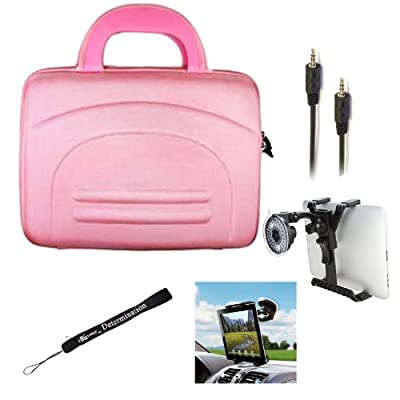 eBigValue PINK Hard Shell Nylon Cube Carrying Case For ViewSonic ViewPad 10e 10pi E100 Tablets + Auxiliary Cable + Windshield Mount