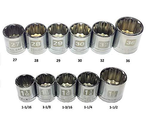 "Craftsman Laser Etched Easy Read 11 Piece Large Metric & Standard ½"" Drive 12 Point Socket Set- (Bulk Packaged)"