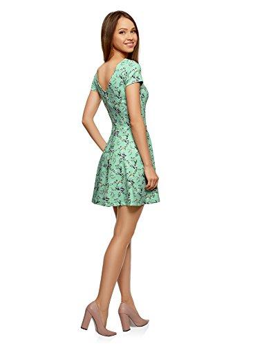 Vert Femme Ajuste Ultra V en oodji au 6583f Dos Encolure Robe avec 4nv5xWOSW
