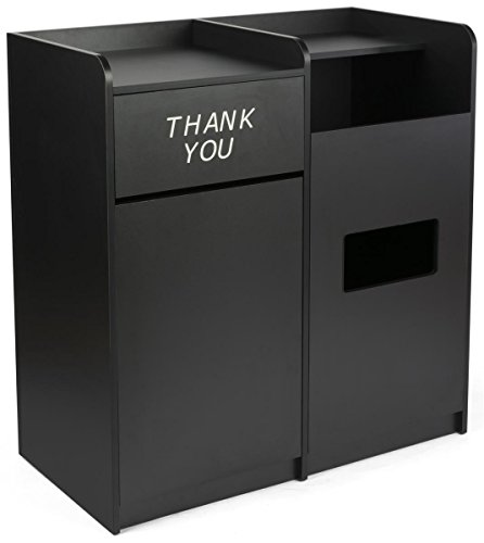 Melamine Finish - Displays2go Bins for Garbage & Recycling, Holds up to 72 Gallons, Melamine Finish, MDF Build - Black (LCKDSSCFBK)