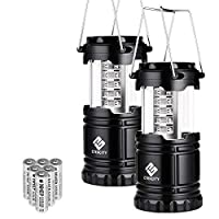 Etekcity - Paquete de 2 linternas LED portátiles para linternas para acampar con 6 baterías AA - Kit de supervivencia en caso de emergencia, huracán, corte de energía (negro, plegable) (CL10)