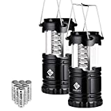 Etekcity 2 Pack LED Camping Lantern Portable Flashlights with 6 AA Batteries - Survival Kit for Emergency, Hurricane, Outage (Black, Collapsible) (CL10)