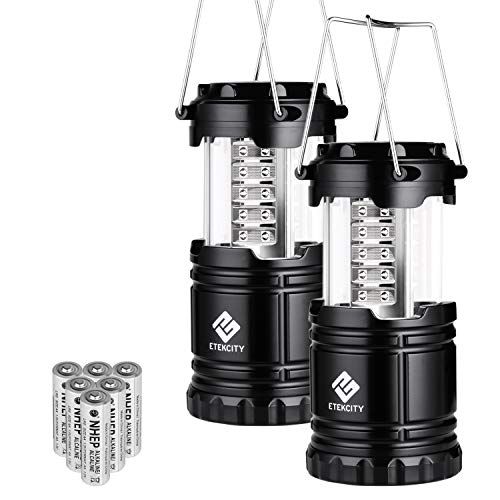 Etekcity 2 Pack Portable LED Camping Lantern Flashlights with 6 AA Batteries - Survival Kit for Emergency, Hurricane, Outage (Black, Collapsible) (Camping Light)