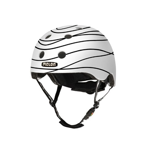 Melon Scribble Helmet, White/Black, Glossy Finish, Small, 46 - 52cm / 18.25 - 20.5in Head Size by Melon Helmets