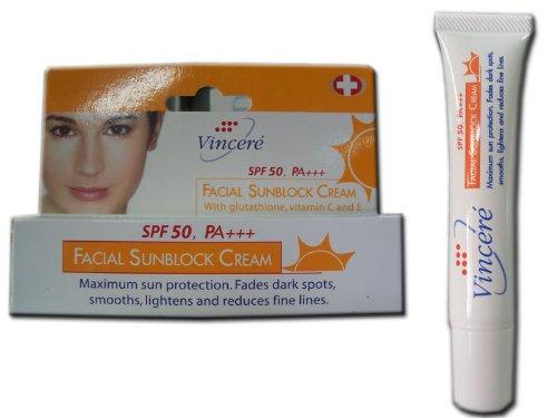 (Vincere Facial Sunblock Cream Spf 50, Pa+++ with Glutathione Vitamin C & E 15 Ml . Wholesale Price Made of Thailand)