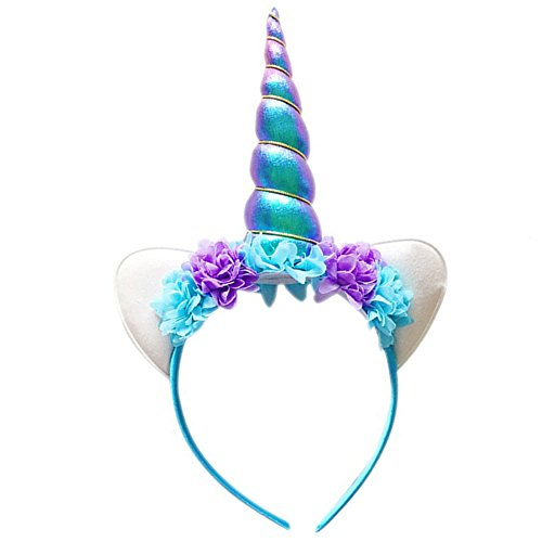 [Unicorn Headband, HMGOOD Shiny Unicorn Horn Headdress Ears Flower Headband for Halloween Party Birthday Cosplay Costume] (The Cat In The Hat Costume Makeup)