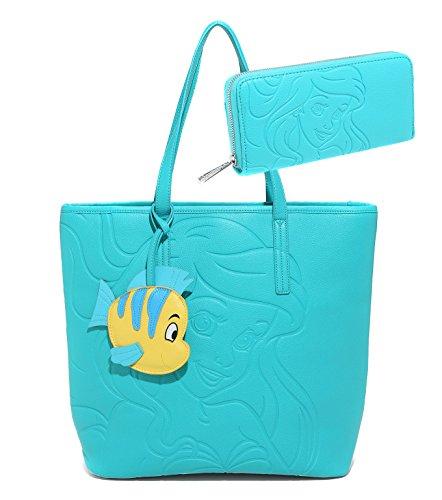 the-little-mermaid-ariel-disney-emerald-embossed-tote-bag-set