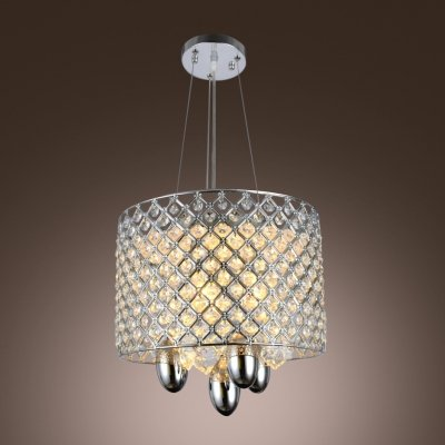 hua Clear Crystal Beads and Strands Accented Dinning Room Pendant Light