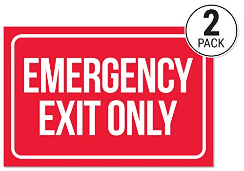 (Emergency Exit Only Sticker Signs (Pack of 2) | Large Decals for Doors, Offices, Restaurants, Stores, Schools, Hospitals)
