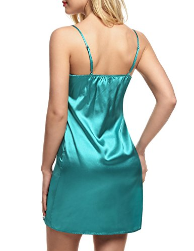 Camicia con da pizzo donna Green sexy notte Ekouaer da PUznBqU4