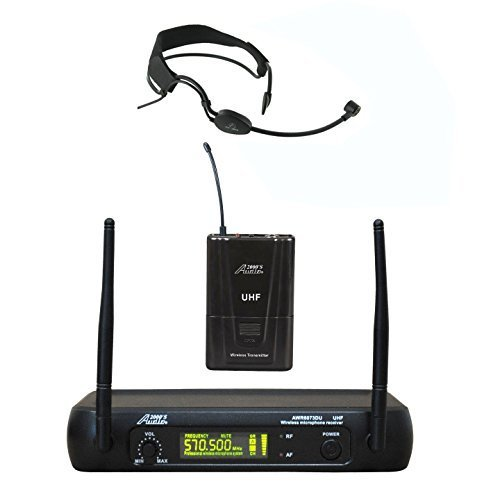 Aerobic Headset Microphone (Audio 2000s AWM6073U518 UHF Diversity Single Channel Wireless Microphone with Headband Headset Mic for Aerobic, Zumba)