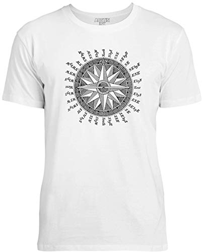 Austin Ink Apparel Precision Antique Compass Unisex Womens Soft Cotton Tee, Ice White, ()