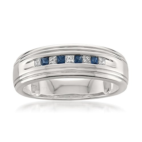 Mens Diamond & Sapphire Ring (14k White Gold Princess-cut Diamond & Blue Sapphire Men's Wedding Band Ring (1/4 cttw, H-I, I1-I2), Size 8)