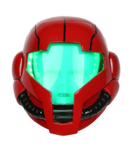 Samus Helmet Deluxe Red Resin Adult Mask with LEDs Cosplay Costume -