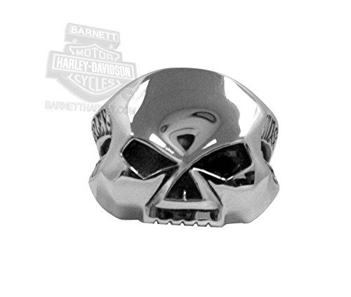 Harley Davidson Mens One Eyed Willie G Skull Silver Ring