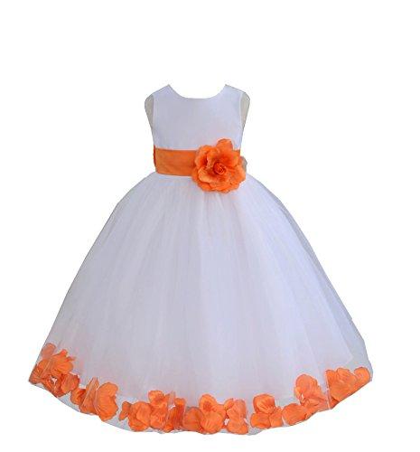 ekidsbridal White Floral Rose Petals Flower Girl Dress