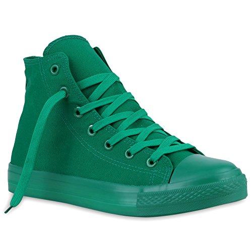 Damen Unisex high Grün Flandell Übergrößen Stiefelparadies Grün Sneaker Herren Ow58dISq
