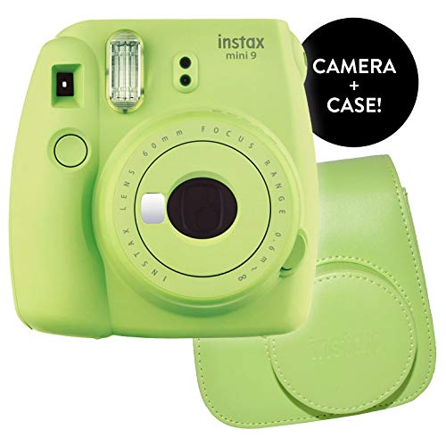 Fujifilm Instax Mini 9 Instant Camera – Certified Refurbished with New Instax Mini 9 Groovy Camera Case | Matching Colors for Case and Mini 9 Camera + Certified Amazing Cleaning Cloth (Lime Green)