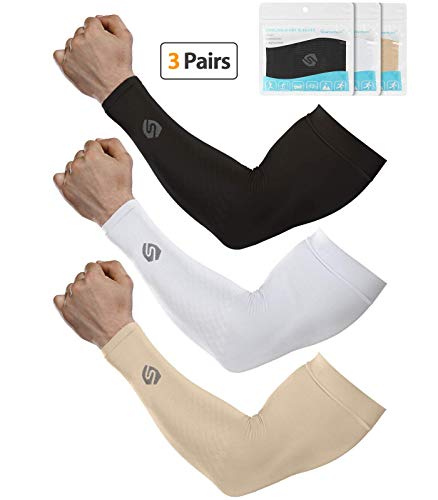 SHINYMOD Cooling Sun Sleeves 2019 Newest Upgraded Version 1 Pair/ 3 Pairs UV Protection Sunblock Arm Tattoo Cover Sleeves Men Women Cycling Driving Golf Running-(3 Pair Black+White+Beige)