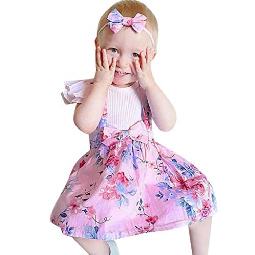 Qpika 3PCS Toddler Infant Baby Girls Solid Lace Ruffled Tops + Overall Denim Skirt Clothing Sets Summer 2019 for $<!--$9.99-->