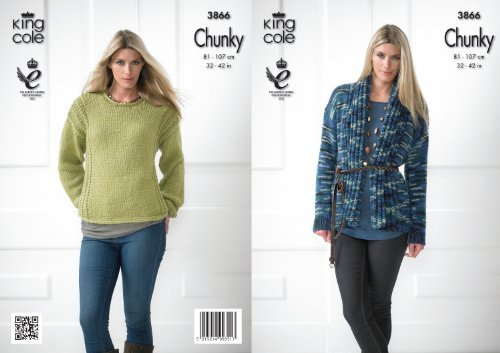 King Cole Ladies Chunky Knitting Pattern Womens Knitted Lightweight Coat & Sweater 3866 by King Cole by King Cole