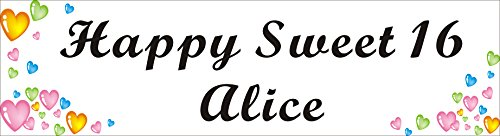 Alice Graphics 1.6ftX6ft (19 inch X 72 inch) Custom Personalized Happy Sweet 16 (Happy 16th Birthday) Banner Sign Poster